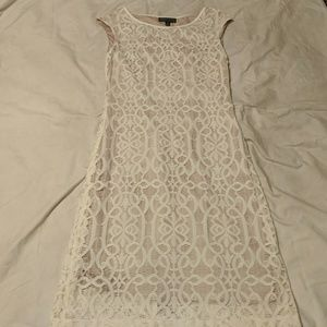 White lace dress with cap sleeves